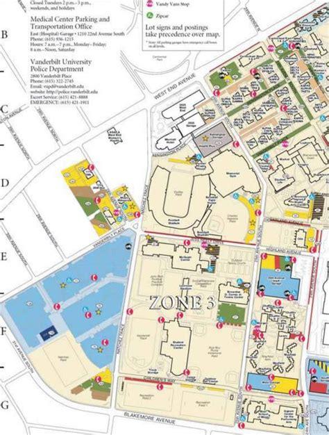 vanderbilt map parking zone 3 maps parking services vanderbilt