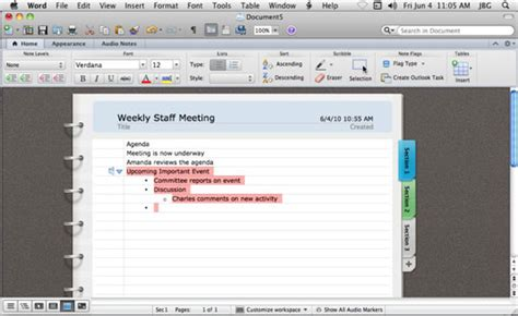 layout in microsoft word using notebook layout view in word for mac 2011 dummies