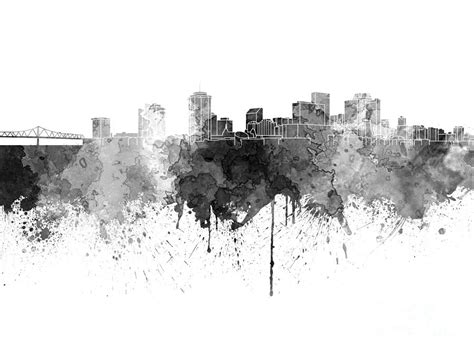 new orleans skyline in black watercolor on white