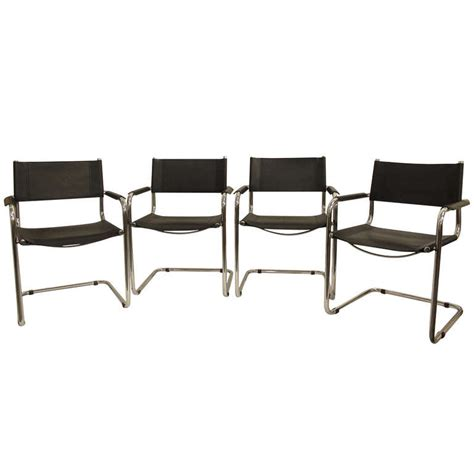 leather and chrome dining chairs four leather and chrome dining chairs by mart stam at 1stdibs