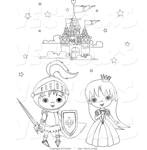 fairy tale clipart knight castle pencil   color