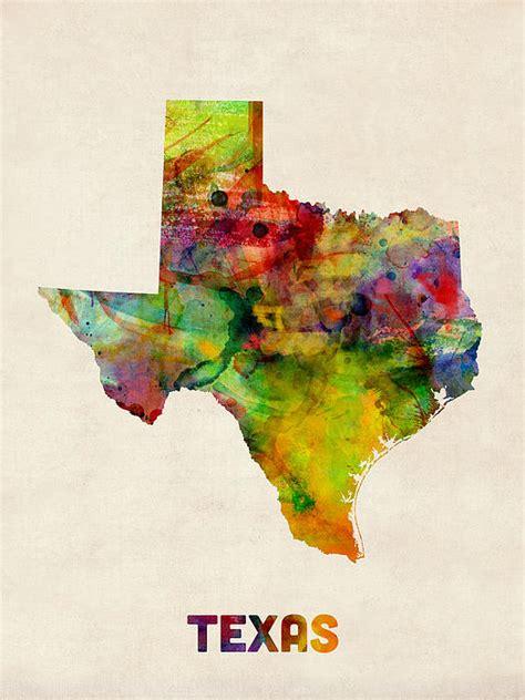 texas map prints texas watercolor map by michael tompsett