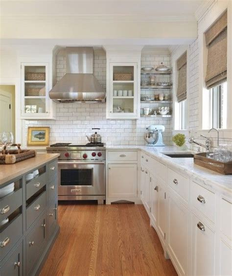 French Country Roman Shades - blue gray kitchen island storage butcher block countertops white glass front kitchen cabinets