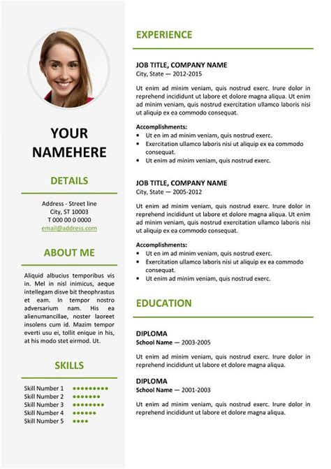 Classic 2 Resume Template by Ikebukuro Free Resume Template Green For Ms Word