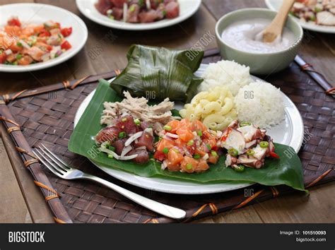 Large Plate 31 900 Per Pcs hawaiian traditional plate lunch image photo bigstock