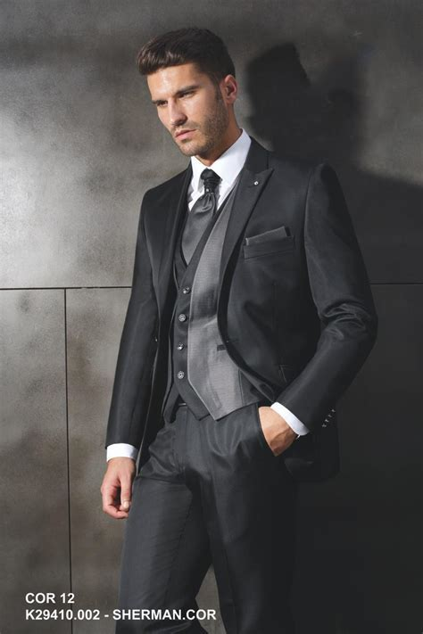 Custom Made 2015 Slim Fit Black Suit Wedding Ceremony Suit