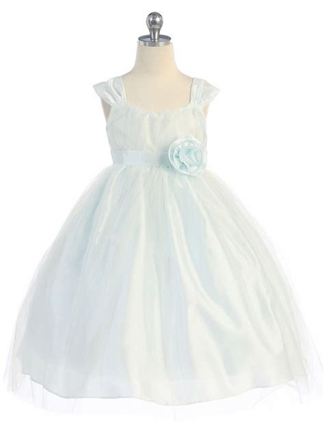 light blue tulle dress light blue empire waist tulle dress w poly silk sleeve sash
