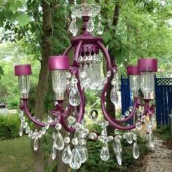 Solar Chandelier Upcycled Chandelier With Solar Lights For Garden Chandeliers Gardens My