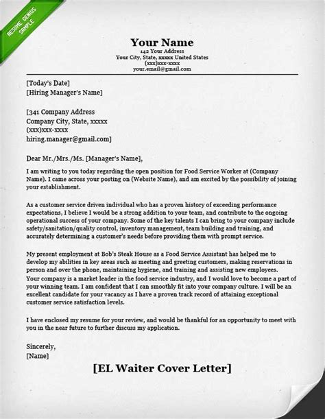 Cover Letter Exle Waiter Food Service Cover Letter Sles Resume Genius
