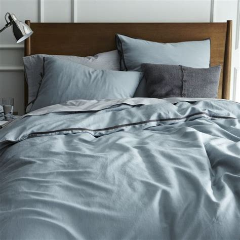 Dusty Blue Duvet Cover linen cotton blend duvet cover shams dusty blue