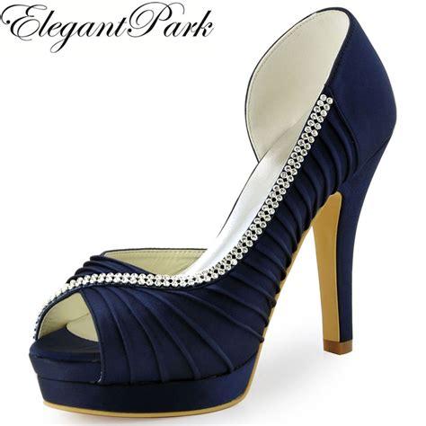 blue high heel shoes wedding aliexpress buy wedding shoes navy blue peep