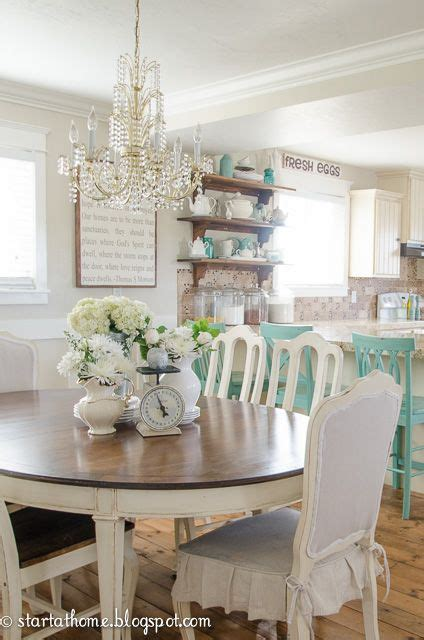 aqua dining room cottage farmhouse style decorated in shades of white