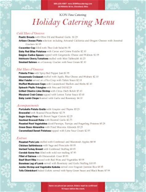 customize holiday party catering menu