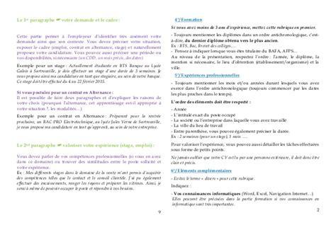 Lettre Présentation De L Entreprise Livret Quot Faire Cv Et Sa Lettre De Motivation Quot 2014
