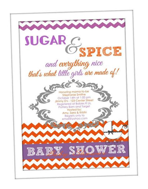 Sugar And Spice Baby Shower Invitations by Sugar Spice Baby Shower Invitation Purple And Orange