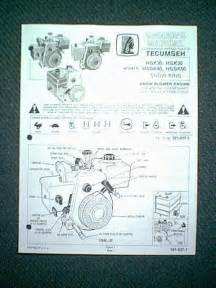 tecumseh hsk30 hsk35 hssk40 hssk50 engine owners manual ebay