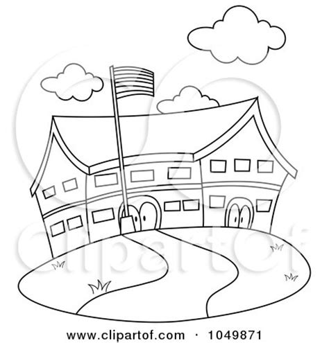 coloring pages elementary school school building clip art black and white