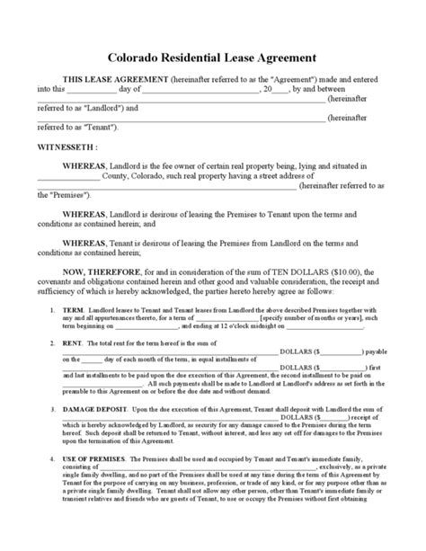 residential property lease agreement template colorado residential lease agreement legalforms org