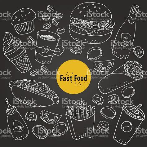 fast food doodle vector vector fast food doodle set for menu and food background