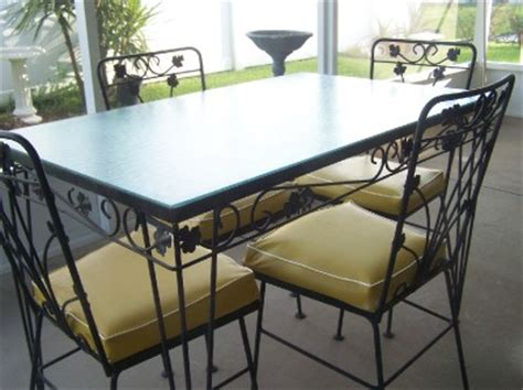 Wrought Iron Glass Top Table And Chairs by Vintage Wrought Iron Patio Table And 4 Chairs Glass Top