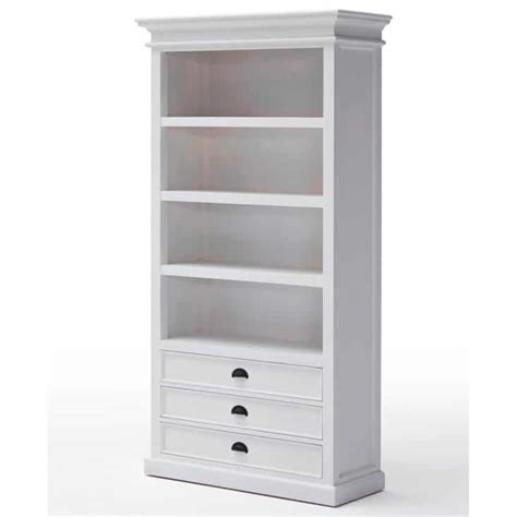 Halifax White Bookcase 3 Drawers Akd Furniture White Bookcases With Drawers