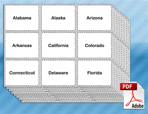 Printable Flash Cards Of States And Capitals | free printable u s states and capitals flash cards