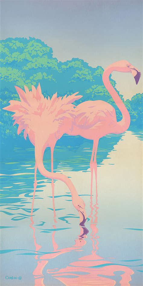 Lilly Pulitzer Duvet Cover Abstract Pink Flamingos Retro Pop Art Nouveau Tropical
