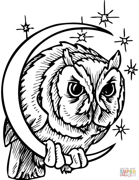 owl moon coloring page owl in crescent moon coloring page free printable