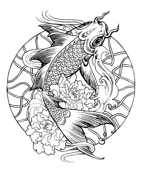 tattoo mandala fish mandala fish carp mandalas coloring pages for adults