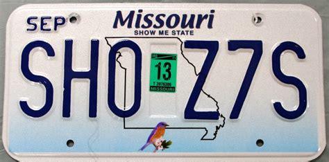Missouri Vanity Plates by 2013 Missouri License Plate Sho Z7s