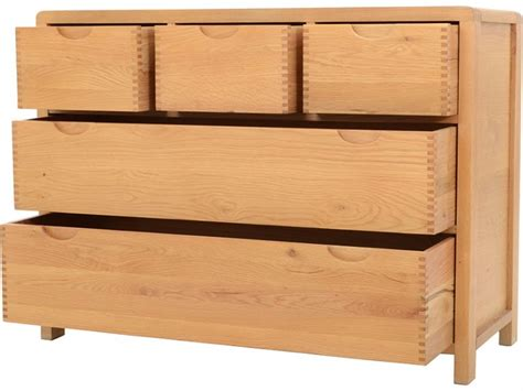 ercol bosco bedroom oak 5 drawer wide chest longlands