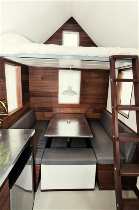 tiny home dining table the miter box modern tiny house on wheels by shelter wise llc