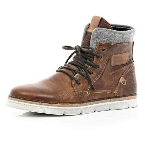 mens shoes boots river island brown contrast panel chunky sole boots in