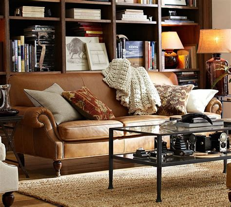 leather couch pottery barn how to style a leather sofa pottery barn