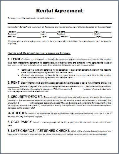 generic rental agreement template ms word generic rental agreement form template word