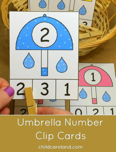 free printable number recognition cards umbrella match and clip cards for number recognition and
