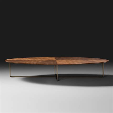 Contempory Coffee Tables Contemporary Italian Walnut Oval Coffee Table