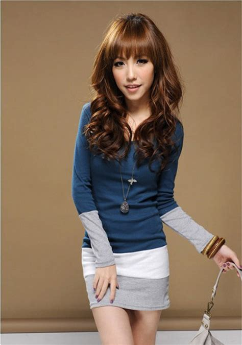 Dress Import Stripe Cotton Cina Korea Style Murah 1 delicate style s sleeve t shirts o neck