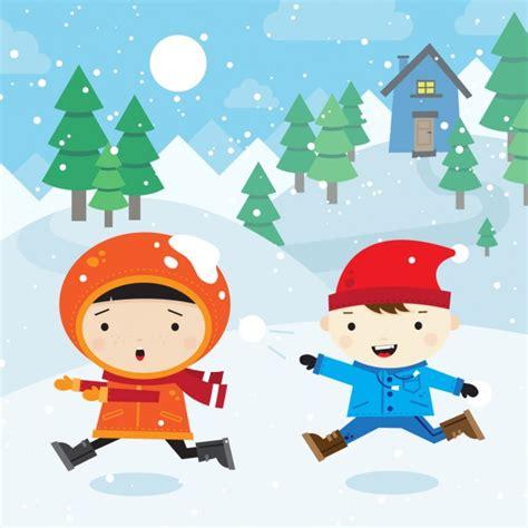 lade bambino bambini snowball fight scaricare vettori gratis