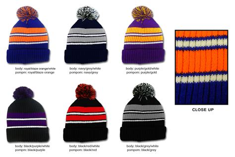 Premium Knit Stripe Dress wholesale premium pom pom stripe winter knit hats sku