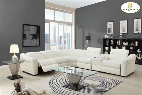 contemporary sectional with recliner modern white leather reclining sectional sofa chaise