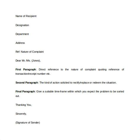 Complaint Letter Format Word Complaint Letter 16 Free Documents In Word Pdf
