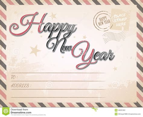 new year postcard vintage happy new year postcard vector illustration