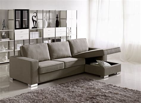 Microfiber Sectional Sleeper Sofa Gray Color Microfiber Sectional Sleeper Sofa With Storage And Stainless Steel Legs In Front Of