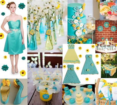 yellow and turquoise moodboard of the week turquoise and yellow wedding