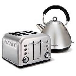 Stainless Steel Kettle And Toaster Set Brushed Stainless Steel Accents Traditional Pyramid Kettle