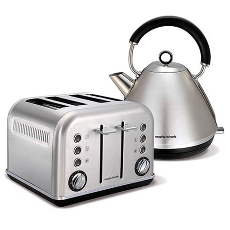 Brushed Stainless Steel Kettle And 4 Slice Toaster Set Brushed Stainless Steel Accents Traditional Pyramid Kettle
