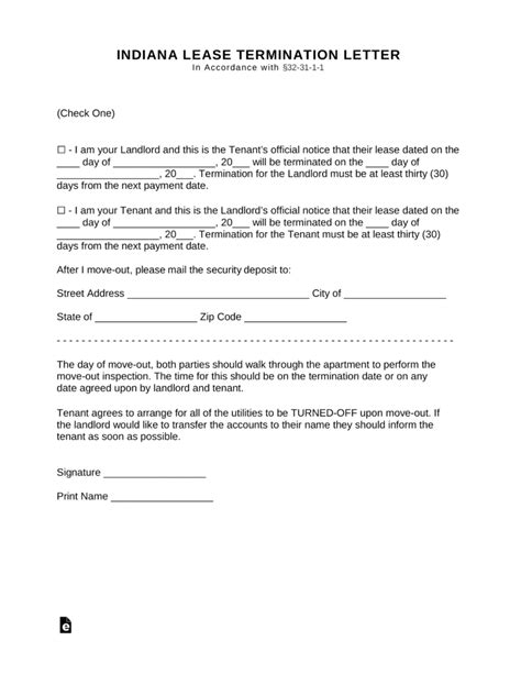 Free Indiana Lease Termination Letter Form 30 Day Notice Word Pdf Eforms Free Fillable Eviction Notice Template Indiana