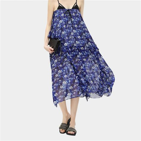 Patterned Chiffon Skirt cocobella floral patterned chiffon irregular ankle length