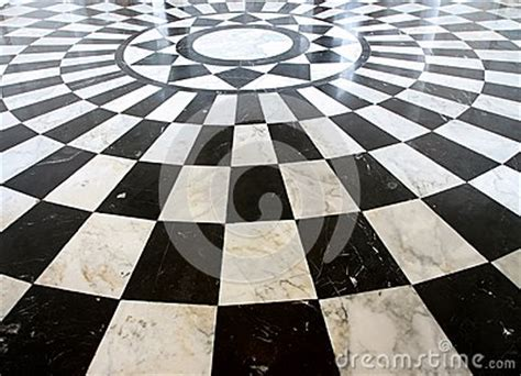 black  white checkered marble floor pattern stock photo